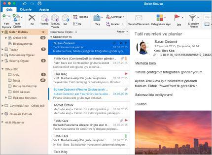 Bir ileti listesi ve önizlemeyle birlikte bir Microsoft Outlook 2013 gelen kutusunun ekran görüntüsü.