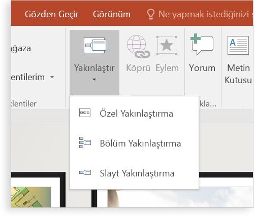 Önizleme özelliği ile bir PowerPoint slaydını gösteren tablet.