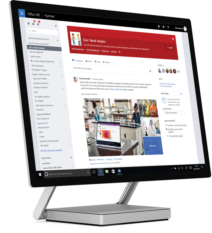 Tablet bilgisayarda paylaşılan fotoğrafları ve işlevsel bir teknik satış grubunu gösteren Yammer