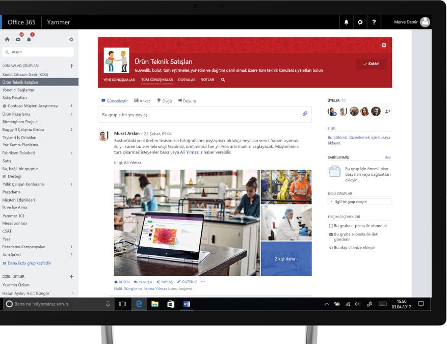 Tablet bilgisayarda paylaşılan fotoğrafları ve teknik birimle satış biriminden çalışanlar içeren işlevler arası bir grubu gösteren Yammer