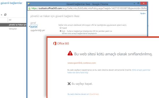 Güvenli Bağlantılar İlkesi penceresi ve kullanıcılara yapılan Güvenli Bağlantılar uyarısı.