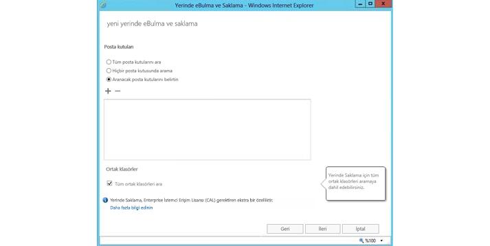 Yerinde eKeşif ve saklama özelliğini gösteren Internet Explorer penceresi