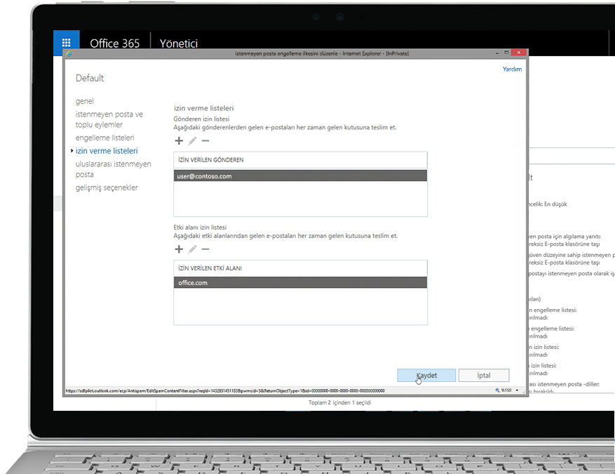 Office 365 Yönetici konsolunda izin verilen bir gönderici ve bir etki alanı içeren istenmeyen posta önleme ilkesini düzenleme özelliğini gösteren tablet