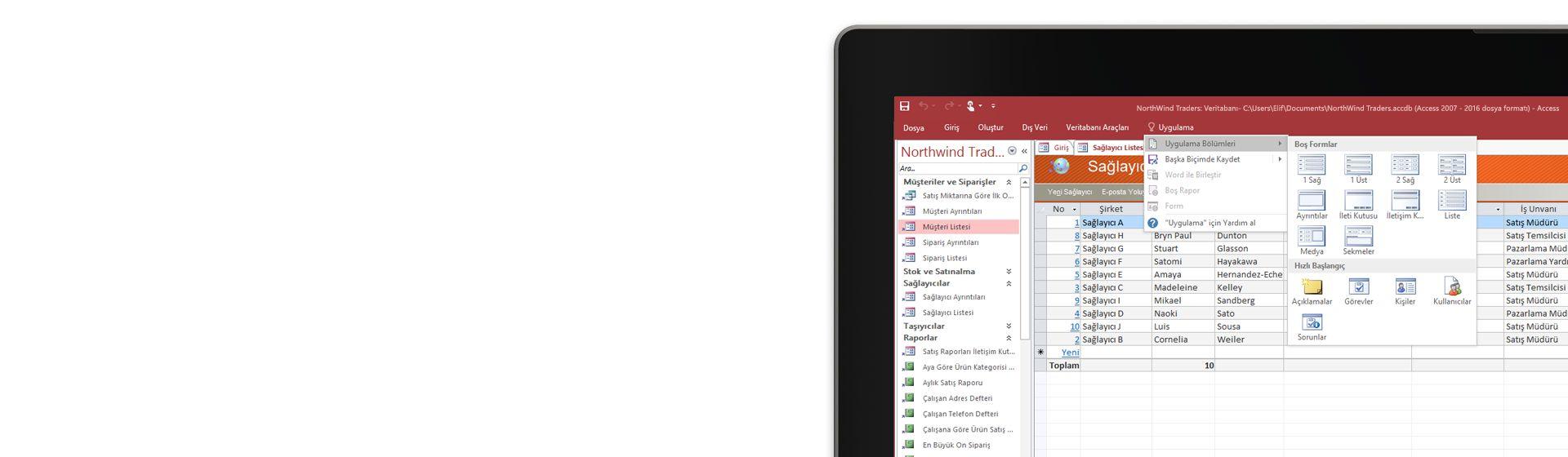 Microsoft Access'teki bir veritabanında tedarikçi listesini görüntüleyen bilgisayar ekranının köşesi.