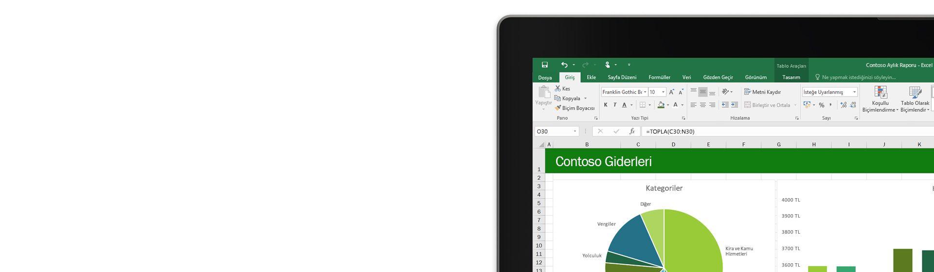 Microsoft Excel'de bir gider raporunun görüntülendiği dizüstü bilgisayar ekranının köşesi