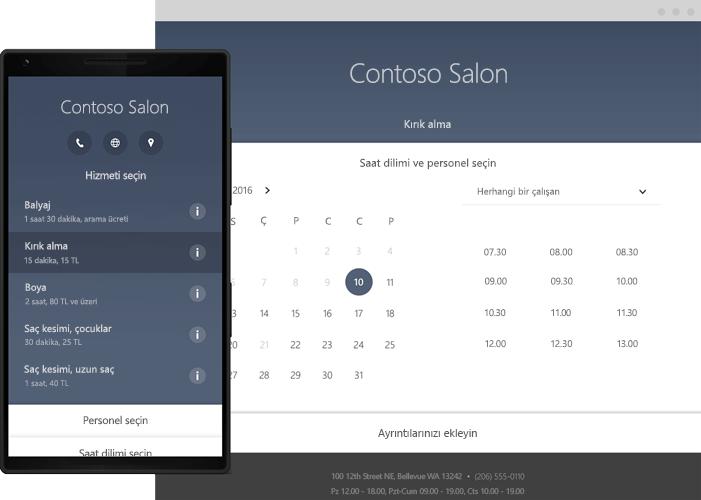 Office 365 Bookings çevrimiçi zamanlama araçlarını gösteren bir telefon.
