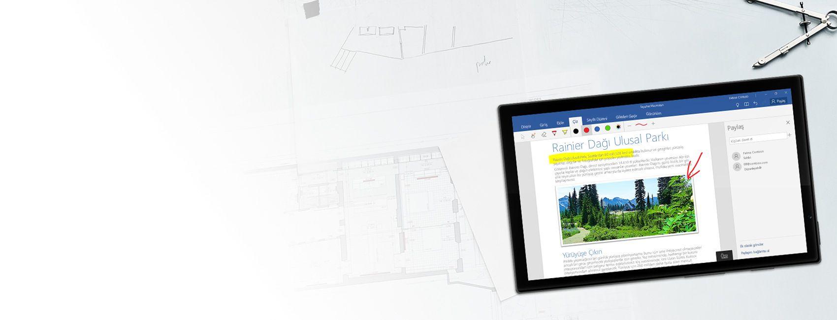 Windows 10 Mobile için Word'de Mount Rainier Ulusal Parkı hakkında bir Word belgesi görüntülenen Windows tablet
