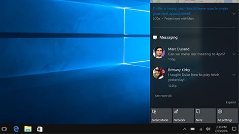 Windows 10 işlem merkezi