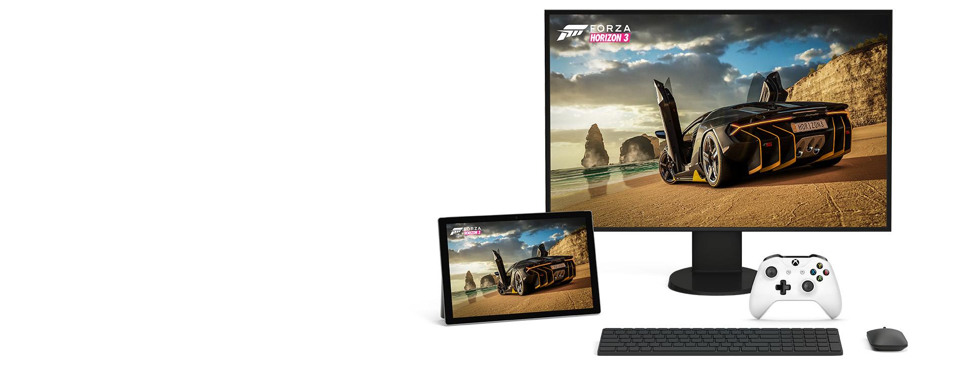 Xbox oyunu Forza Horizon 3 oynanan Microsoft Windows 10 kişisel bilgisayarı ve tablet