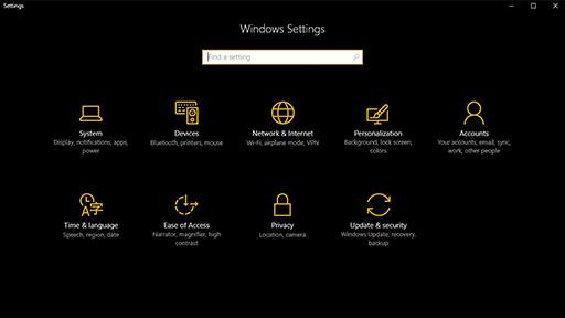 Microsoft Windows 10 koyu mod