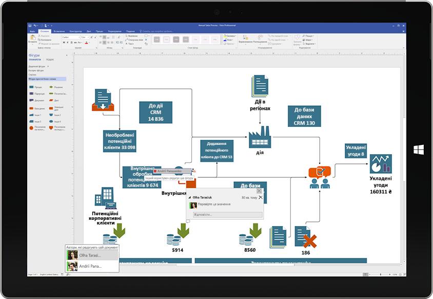 Планшет Surface, на якому показано співпрацю над схемою Visio: на екрані відображаються примітки інших користувачів