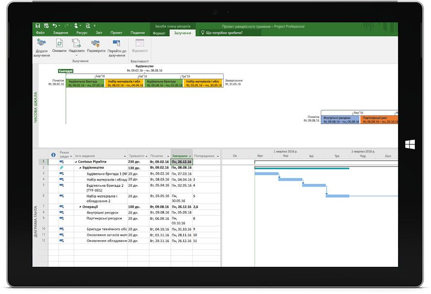 Планшет Microsoft Surface, на якому в Project Professional відкрито файл Project із планом і часовою шкалою.