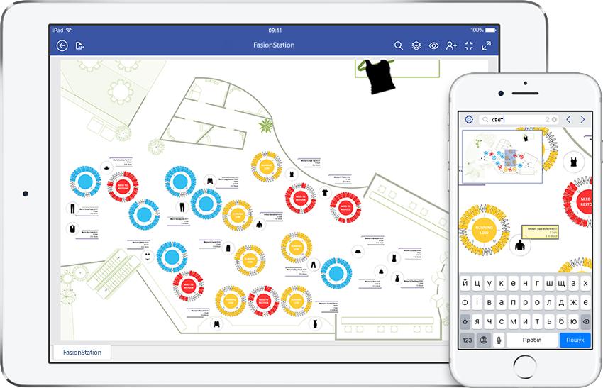 iPad і iPhone, на яких показано схему посібника з обслуговування, відкриту у Visio