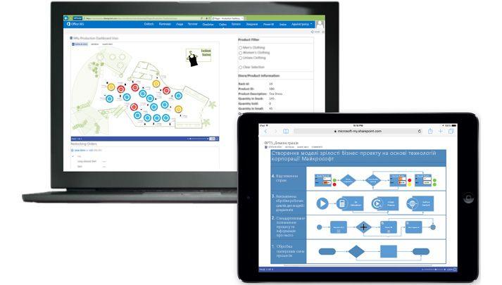 Ноутбук і планшет, на екранах пристроїв відображаються різні схеми Visio.
