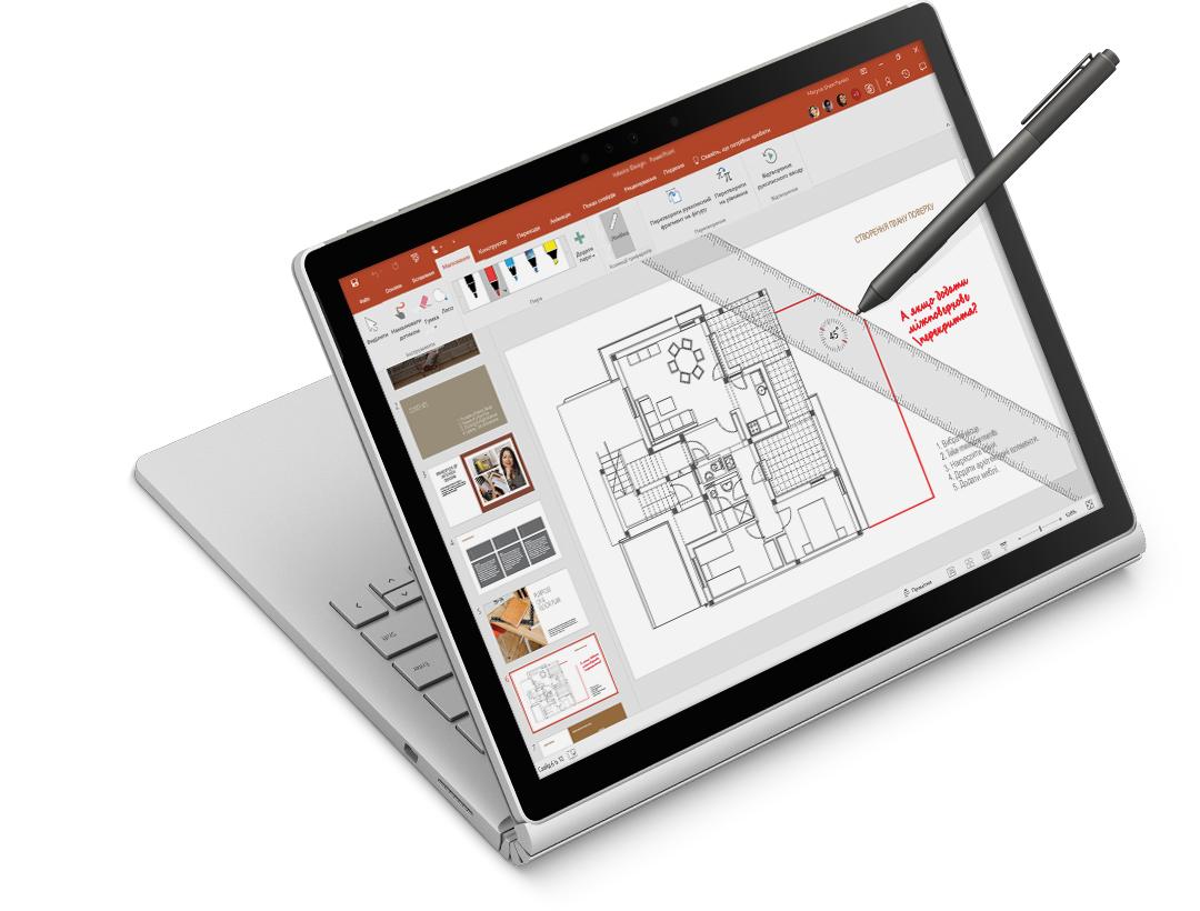 лінійка та рукописне введення на архітектурному кресленні на планшеті Surface