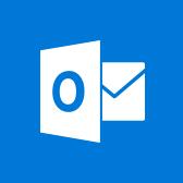 Емблема Microsoft Outlook, відомості про програму Outlook для мобільних пристроїв на сторінці