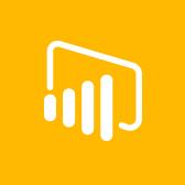 Емблема Microsoft Power BI, відомості про програму Power BI для мобільних пристроїв на сторінці