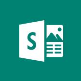 Емблема Microsoft Sway, відомості про програму Sway для мобільних пристроїв на сторінці