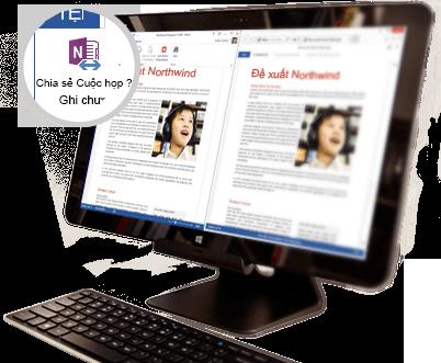 Một màn hình máy tính với hiển thị nội dung cuộc họp chia sẻ.