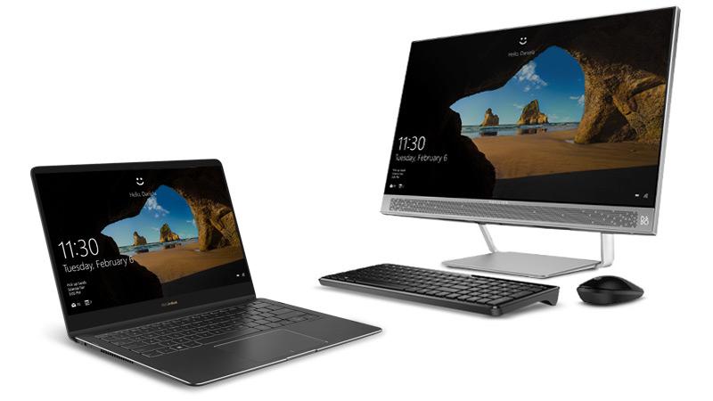 Một thiết bị 2-trong-1 chạy Windows 10 với máy tính để bàn chạy Windows 10