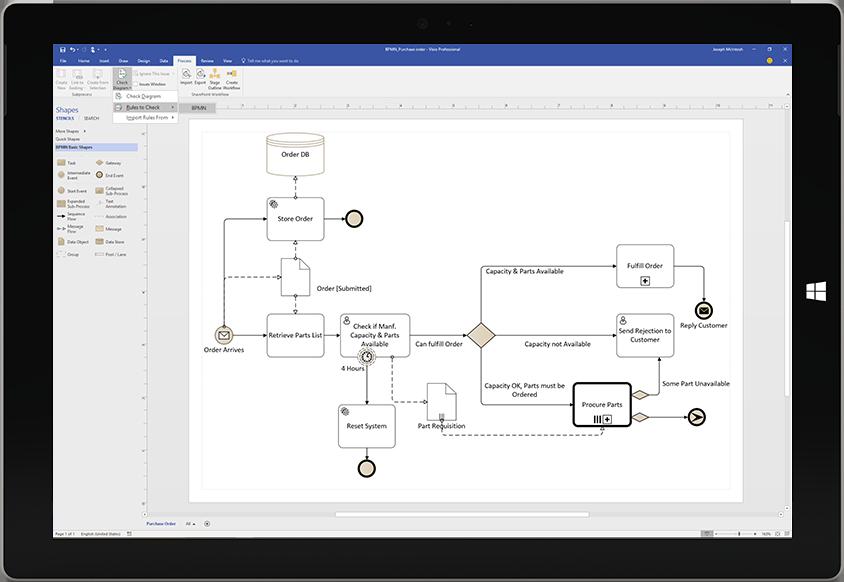 Máy tính bảng Surface đang hiển thị một sơ đồ tiến trình trong Visio