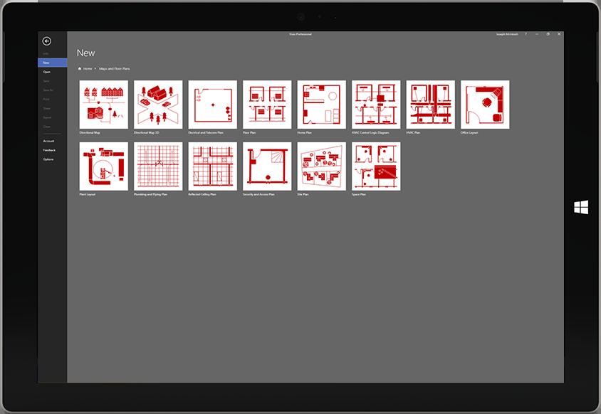 Máy tính bảng Microsoft Surface đang hiển thị một danh sách mẫu sơ đồ sàn trong Visio