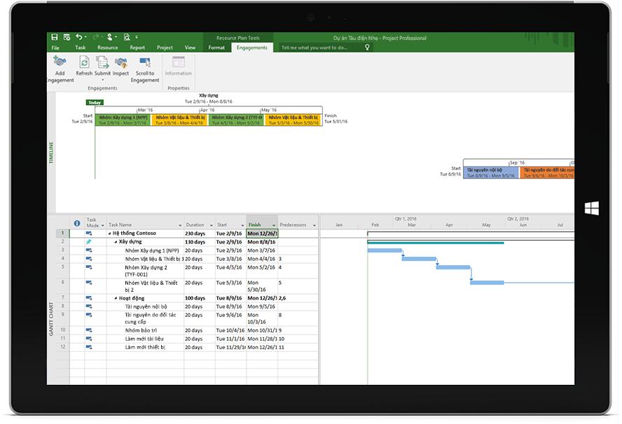 Màn hình máy tính bảng Microsoft Surface hiển thị tệp Project có lịch biểu và đường thời gian trong Project Professional.