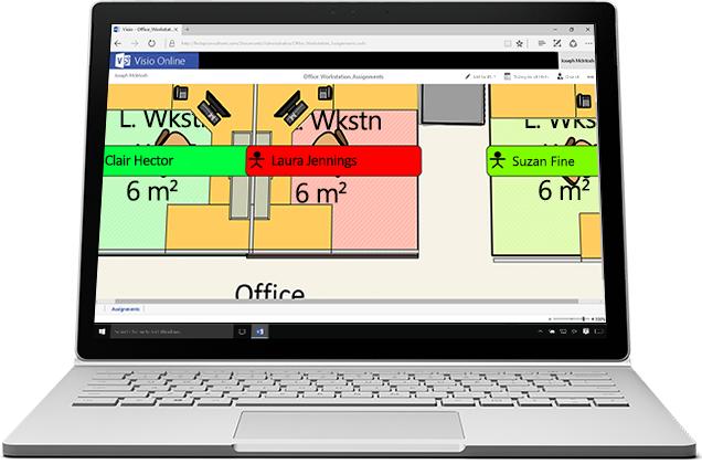 Một máy tính xách tay hiển thị hình ảnh phóng to trong Visio Online