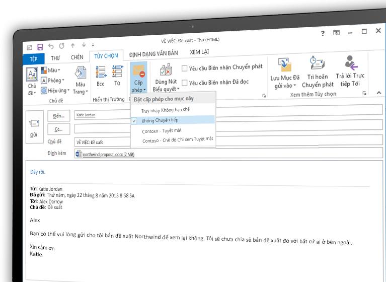 Màn hình hiển thị một email được mã hóa bằng Microsoft Azure Rights Management.