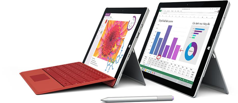 Hai máy tính bảng đang hiển thị các ứng dụng đối tác hoạt động cùng OneDrive for Business