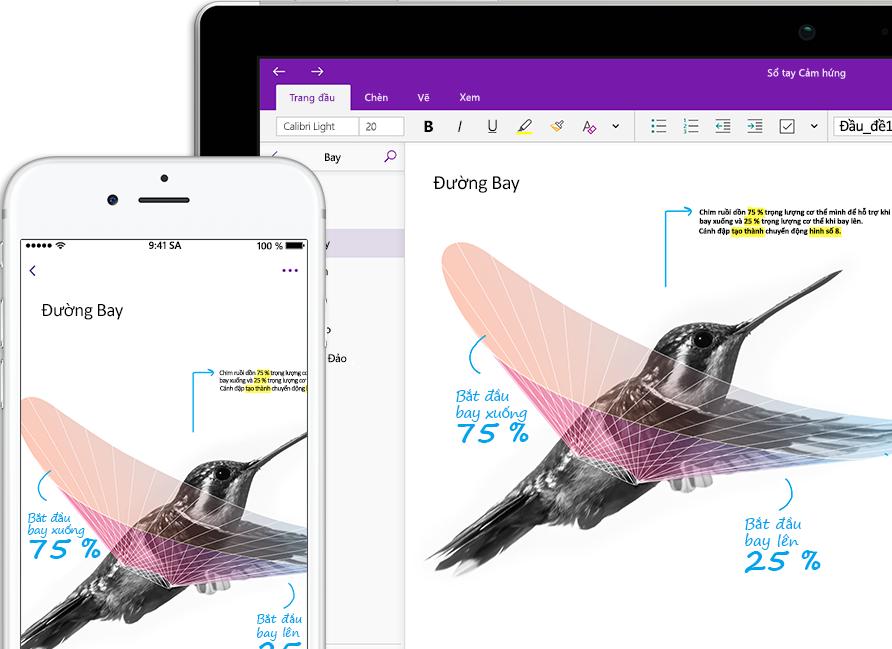 Một sổ tay OneNote có tên Truyền cảm hứng đang hiển thị một chú chim ruồi trên điện thoại thông minh và máy tính bảng