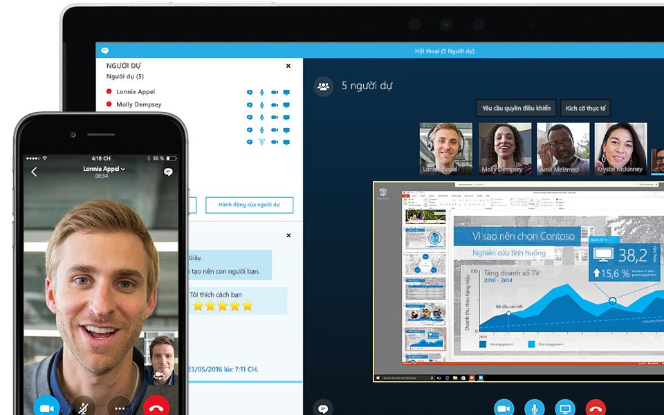Góc màn hình máy tính xách tay hiển thị cuộc họp Skype for Business đang diễn ra kèm theo danh sách người dự