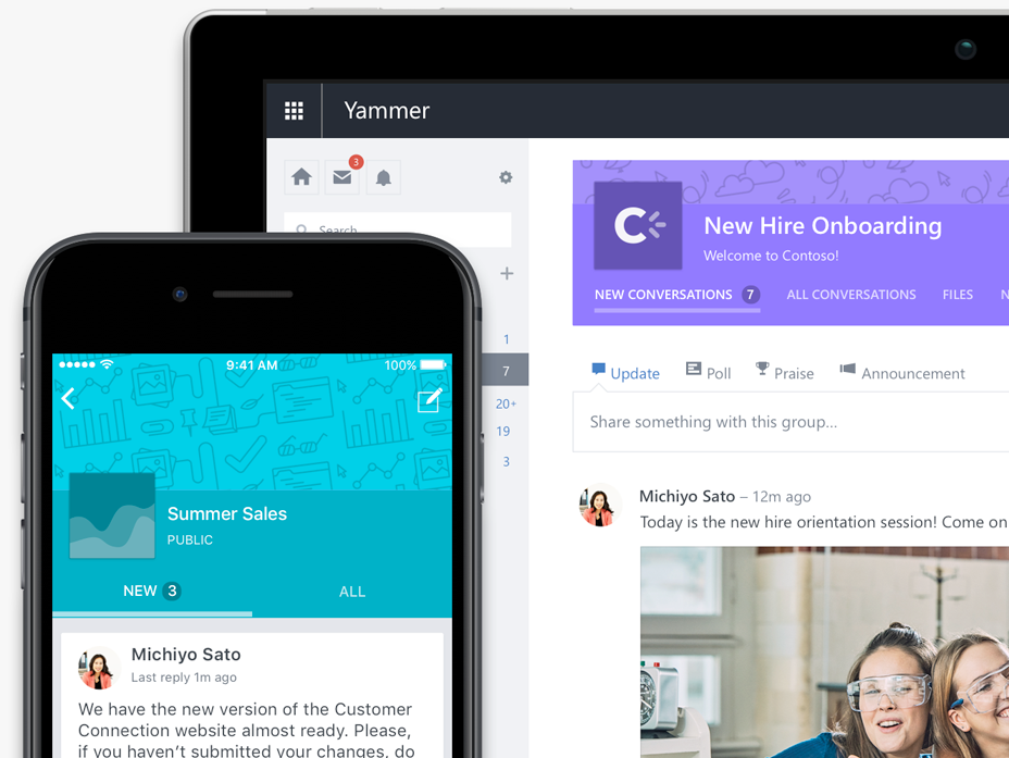 Một điện thoại và máy tính bảng hiển thị các cuộc hội thoại trong nhóm Yammer cần ảnh chụp màn hình cập nhật với giao diện người dùng mới nhất (có thể là các cuộc hội thoại giống nhau)