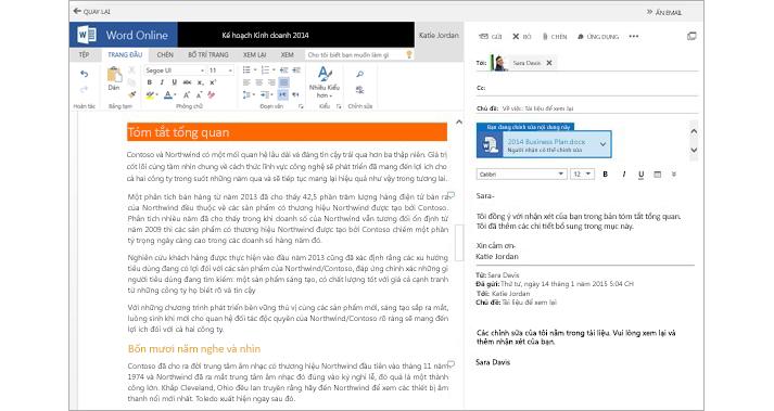 Thư email được hiển thị cạnh ngăn xem trước tệp đính kèm tài liệu bằng cách sử dụng Word Online
