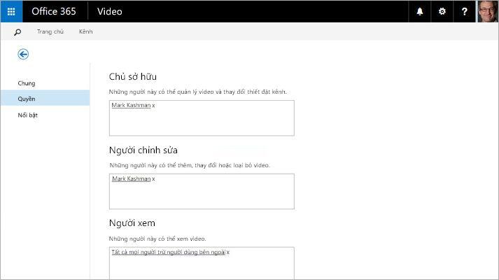 Một ảnh chụp màn hình của trang Quản lý Cổng thông tin Video trong Office 365 Video.