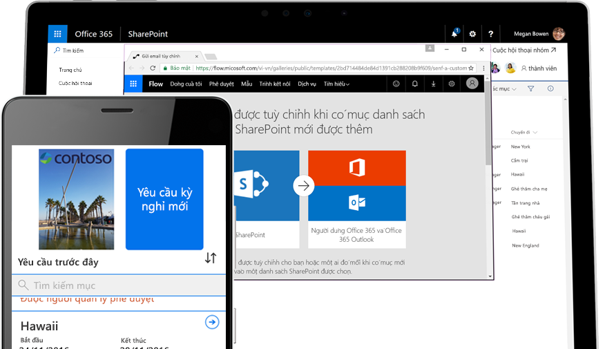 một yêu cầu nghỉ phép trên điện thoại thông minh được Microsoft Flow hỗ trợ, đồng thời Microsoft Flow đang chạy trên máy tính bảng