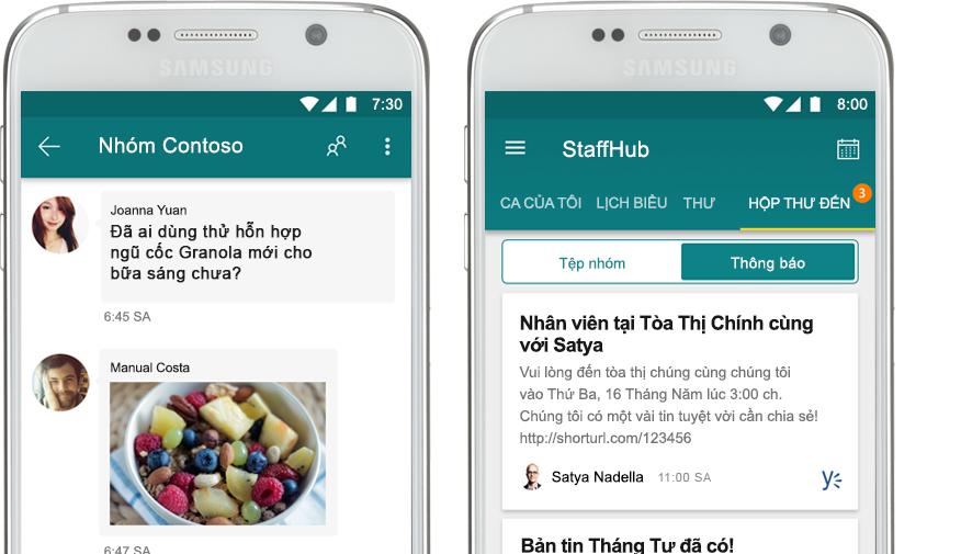 điện thoại di động hiển thị trò chuyện StaffHub cạnh điện thoại di động hiển thị thông báo của công ty trong StaffHub