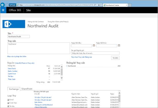 Cận cảnh danh sách kết quả bản xem trước Exchange Online Archiving.