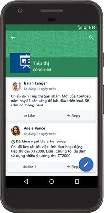 Một chiếc điện thoại chạy Android hiển thị một cuộc hội thoại Yammer