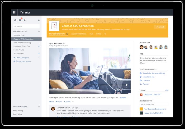 Máy tính bảng Surface hiển thị một cuộc hội thoại Yammer với các thành viên trong toàn bộ nhóm Chúng tôi có thể đặt hình ảnh này làm trải nghiệm di động với Kết nối CEO không?