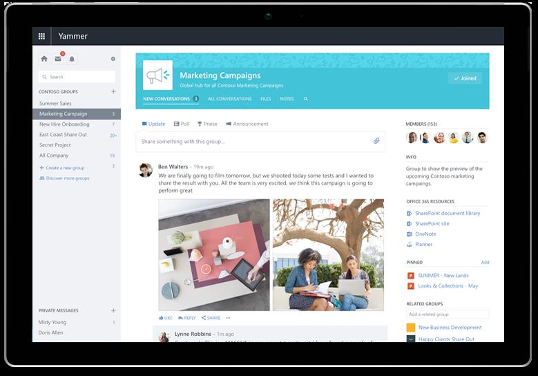 Máy tính bảng Surface hiển thị một cuộc hội thoại Yammer cần ảnh chụp màn hình cập nhật với giao diện người dùng mới nhất (có thể là các cuộc hội thoại giống nhau)