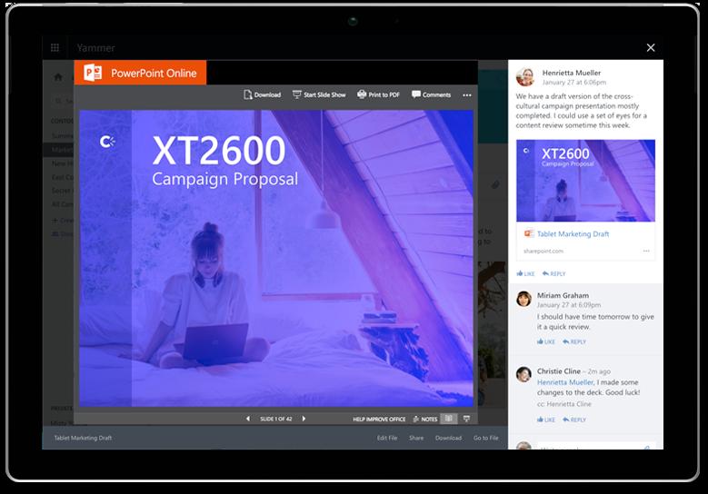 Một tài liệu PowerPoint, được chia sẻ và hiển thị trong cuộc hội thoại Yammer trên máy tính bảng Surface
