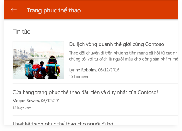 một cuộc hội thoại nhóm SharePoint trên máy tính bảng
