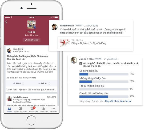 Một chiếc điện thoại di động hiển thị các cuộc hội thoại, thăm dò ý kiến và chia sẻ tệp trong các nhóm Yammer