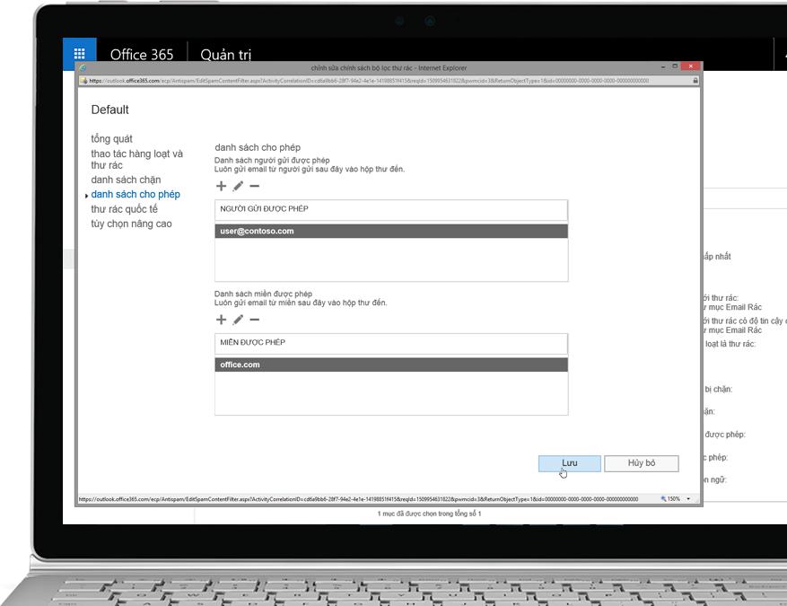 Chính sách bộ lọc Office 365 Exchange Online Protection trên máy tính xách tay chạy Windows