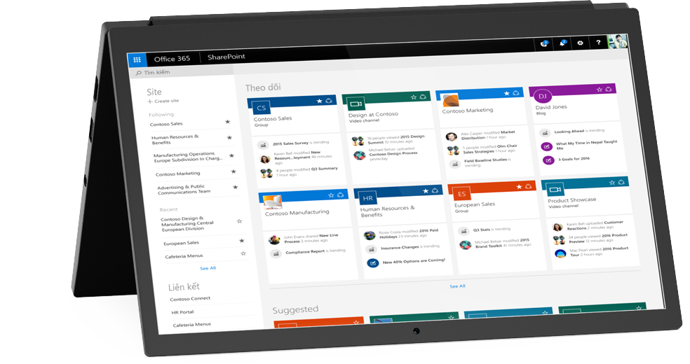 Máy tính xách tay hiển thị màn hình Site của Tôi trên SharePoint