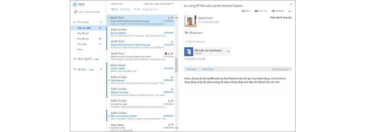 Hộp thư đến email với thư mới xuất hiện trong ngăn xem trước
