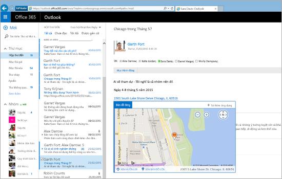 Cận cảnh hộp thư đến của người dùng trong Outlook trên web, hoạt động trên nền tảng Exchange.
