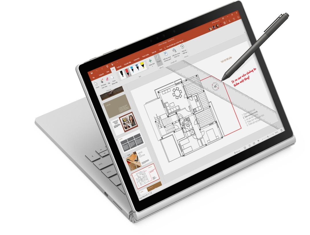 thước và viết tay kỹ thuật số ở một bản vẽ kiến trúc trên máy tính bảng Surface