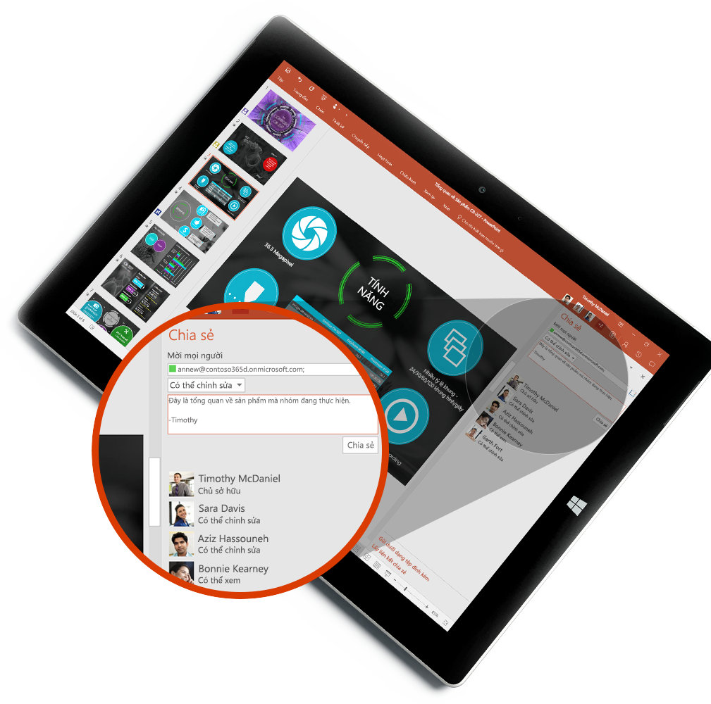 Máy tính bảng hiển thị ngăn Chia sẻ và Hub Mọi người mới, tìm hiểu về việc đính kèm tệp vào email trong Outlook